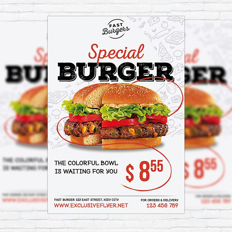 Special Burger - Premium Flyer Template + Facebook Cover   - food flyer template