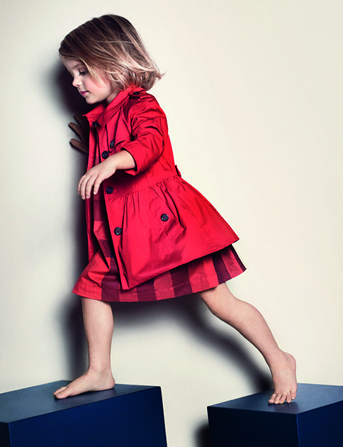 1481524e2 Cotton twill trench coat in bold orange red from the Burberry S/S13  Childrenswear collection