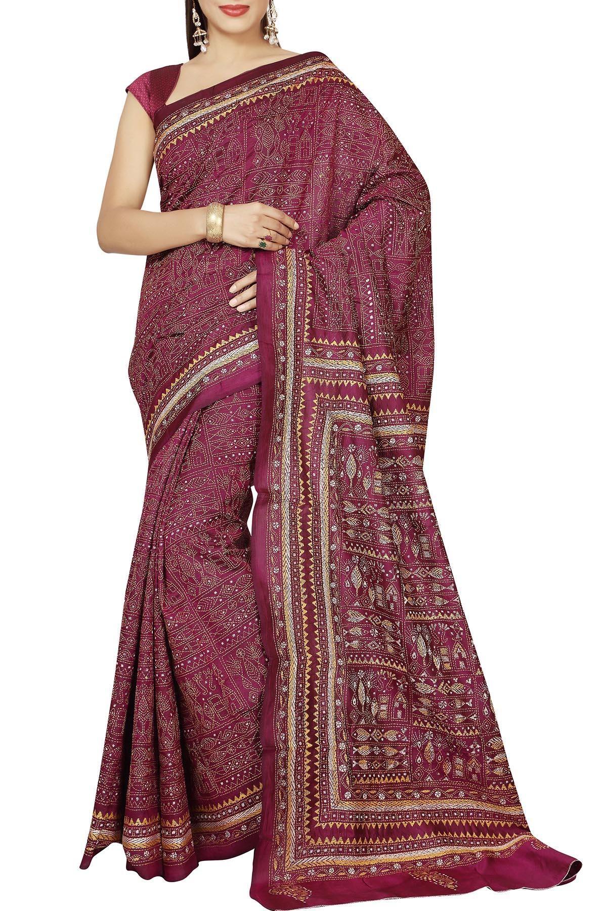 fb56ae8c1e511 Tyrian Purple Meen Nakshi Kantha Soft Silk Saree