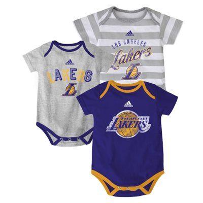e24568072 Infant Los Angeles Lakers adidas Purple 3-Point Play Creeper Set ...
