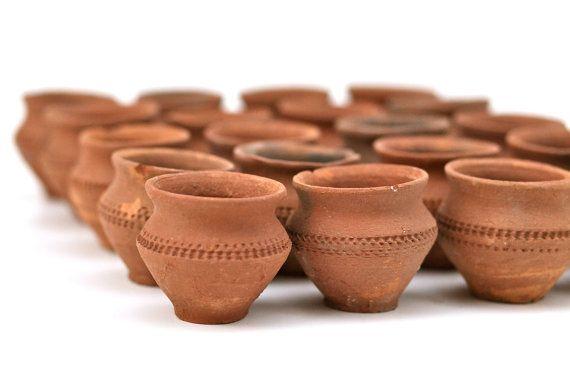 Vintage Set Of 5 Terracotta Mexican Mini Pots Bud Flower Vases Miniature Planters Toy Size Ceramic Pots Handm Ceramic Pots Terracotta Plant Pots Terracotta