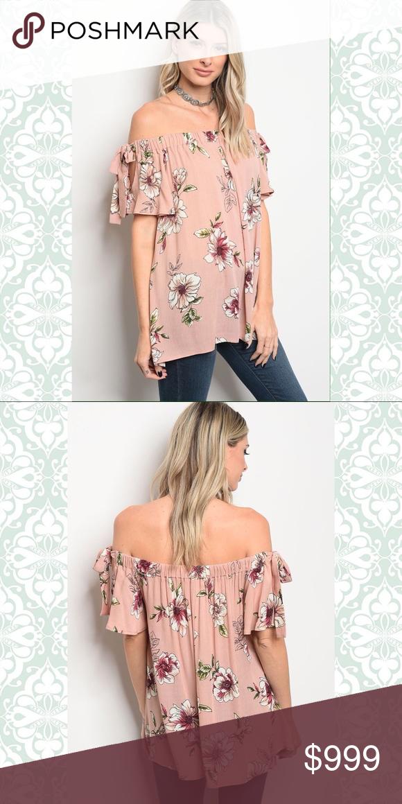 429a476ea2124 COMING SOON Peach Floral Print Off Shoulder Top S