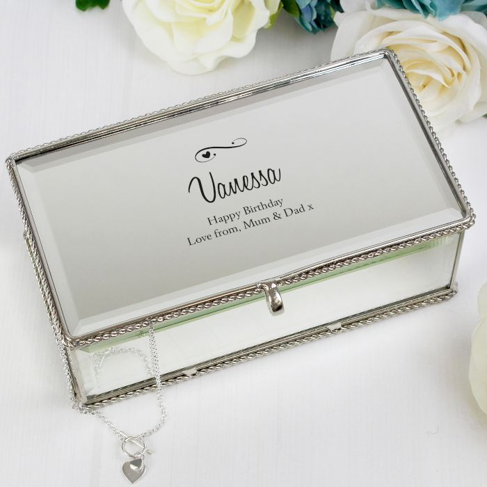 This Personalised Hearts Swirls design mirrored jewellery box is covered by mirror with a beaded edge detail Inside there are 3 compartments to store