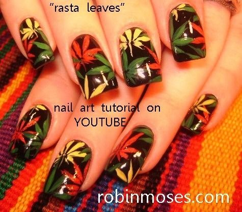 WEED DESIGN in rasta colors: robin moses hemp fest nail art tutorial - Rastafarian #nail #nailart (Taken With Instagram) Nail Artistry