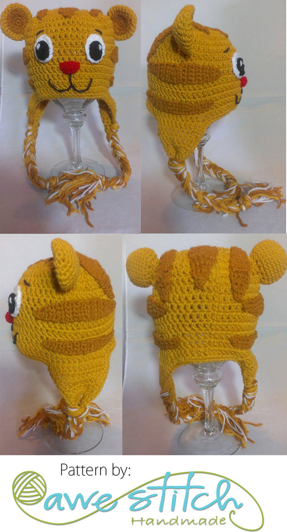 Daniel the Tiger INSPIRED Crochet PATTERN INSTANT Download Character Hat  Neighborhood Beanie Earflap 80ebed3250f