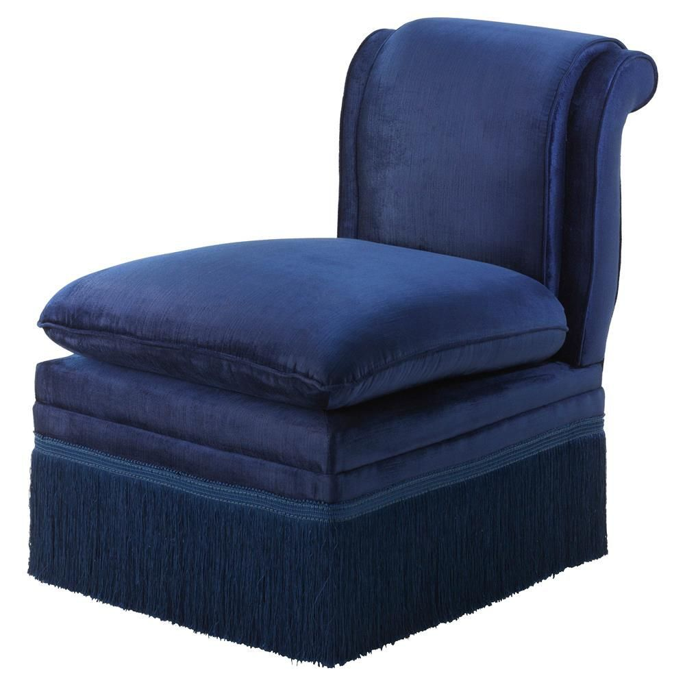 Eichholtz boucheron french country blue fringe armless slipper chair kathy kuo home colorfulchairs
