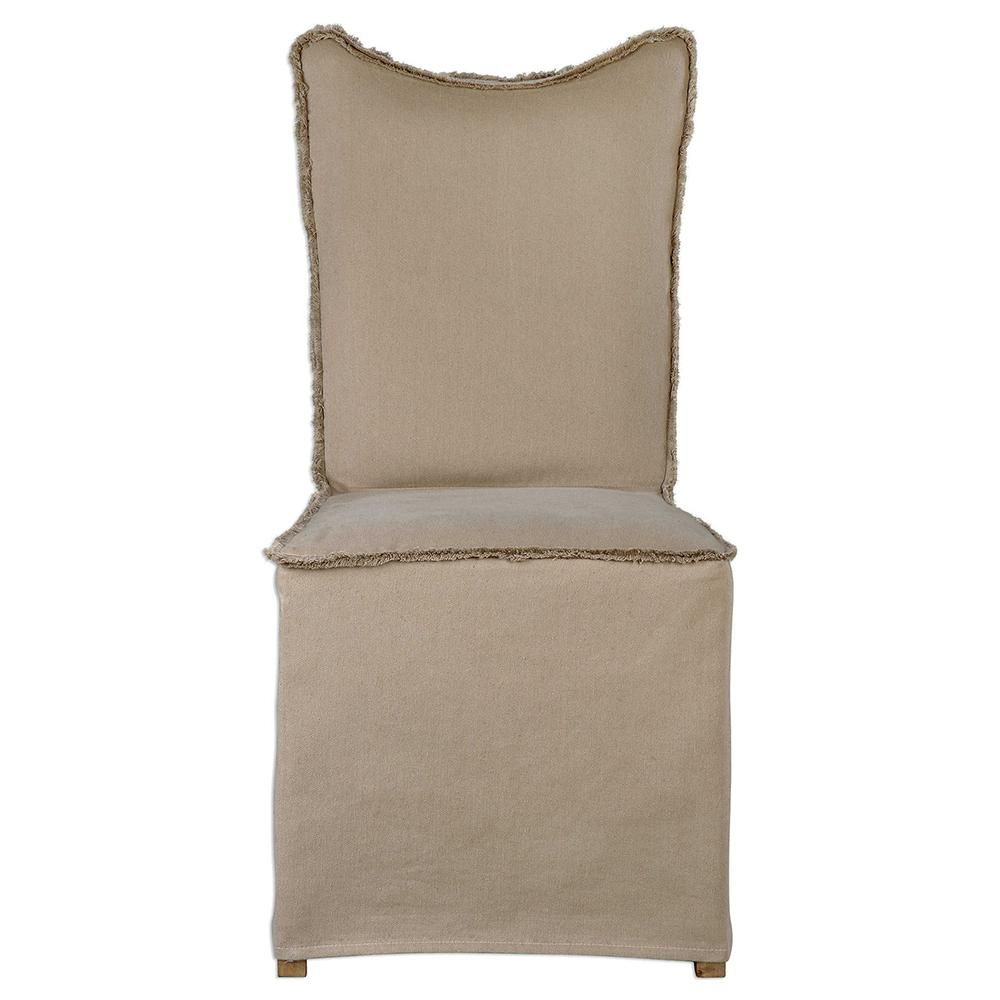 Fringed Armless Chair with Tan Slipcover — Set of 2