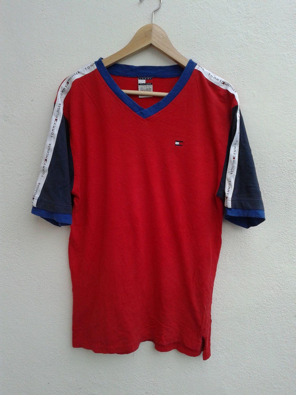 a0251e7432 TOMMY HILFIGER Color Block Stripes Shoulder Logo Flag Vintage 90s Hip-Hop T-Shirt  Size XL by BubaGumpBudu on Etsy