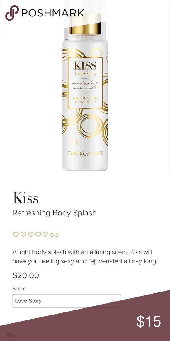 Kiss Body Spray Love Story collection. Amber and Vanilla
