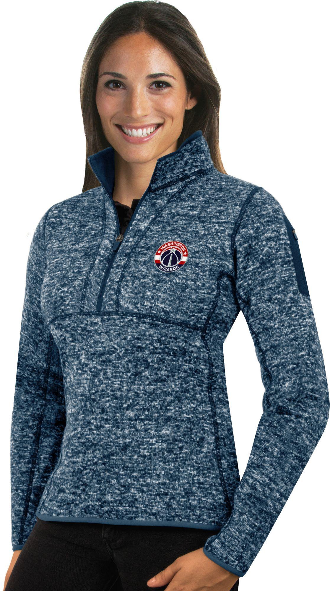 c28d6235 Antigua Women's Washington Wizards Fortune Navy Half-Zip Pullover, Size:  Medium, Team