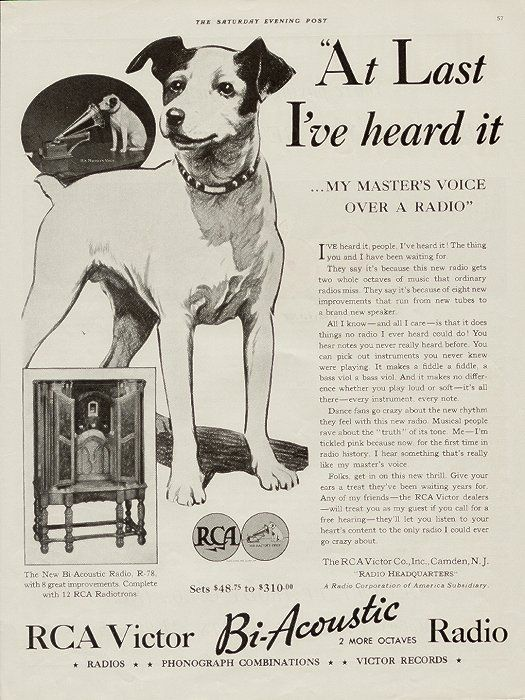 Rca nipper vintage advertising history