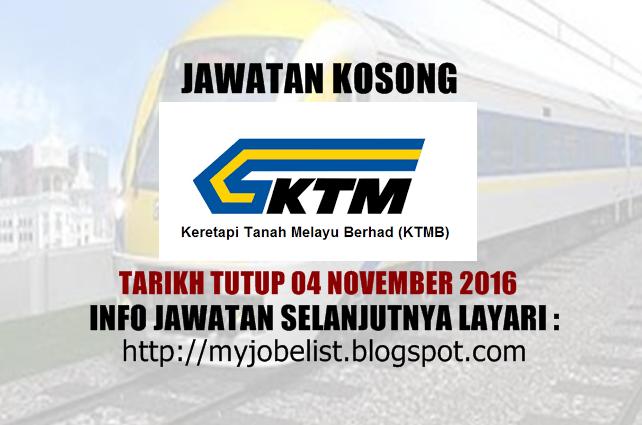 Jawatan Kosong Keretapi Tanah Melayu Berhad (KTMB) - 04 November 2016  Jawatan kosong terkini di Keretapi Tanah Melayu Berhad (KTMB) November 2016. Permohonan adalah dipelawa daripada warganegara Malaysia yang berumur tidak kurang daripada 18 tahun ke atas pada tarikh tutup iklan jawatan dan berkelayakan untuk mengisi kekosongan jawatan kosong terkini di Keretapi Tanah Melayu Berhad (KTMB) sebagai :1. ADVERTISING SALES MANAGERTarikh tutup permohonan 04 November 2016 Lokasi : Kuala Lumpur…