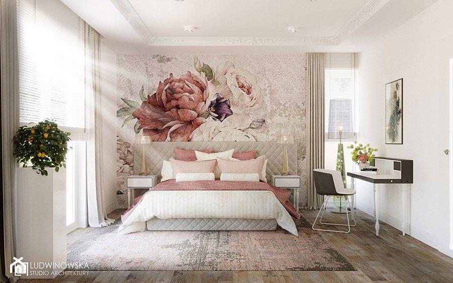 Https Www Homebook Pl Inspiracje Sypialnia 549929 Sypialnia Oryginalna Tapeta Fototapeta Wander Wall Przytulna Kolorowa Kwiaty Peonie To Home Furniture Decor