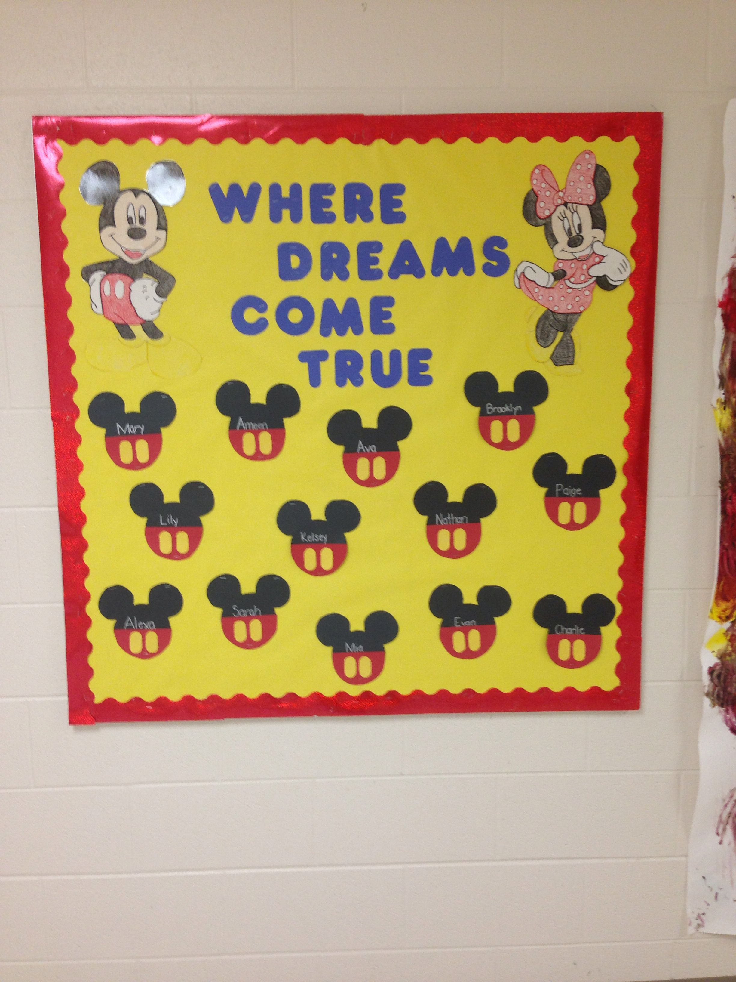preschool Mickey and Minnie Mouse bulletin board! great idea ...