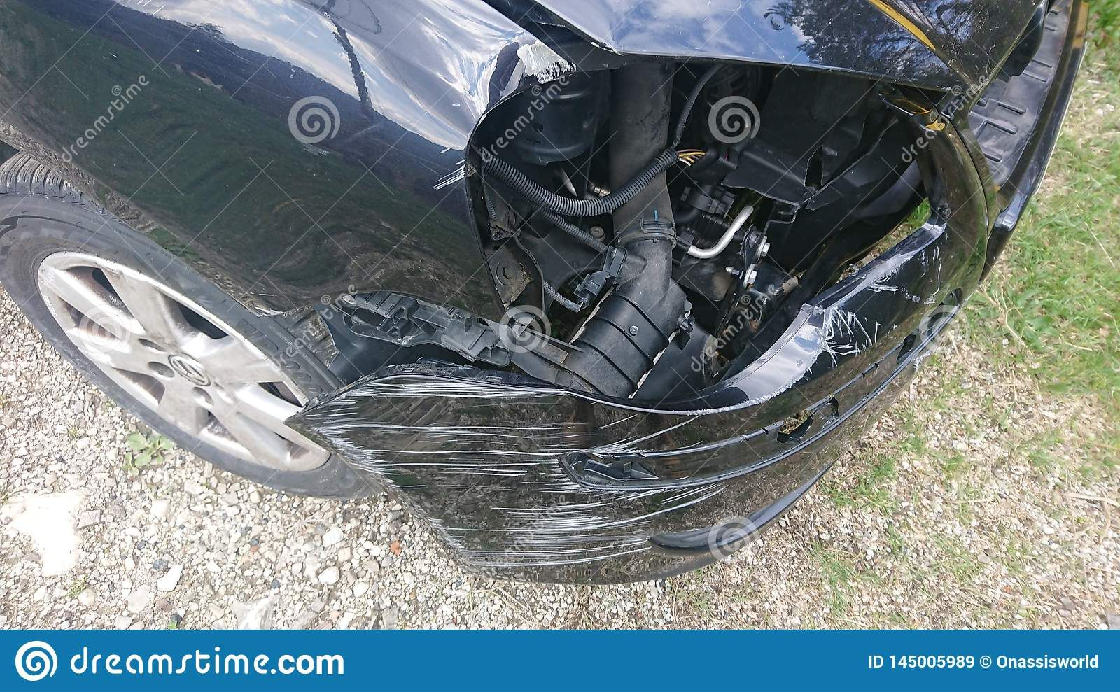 Photo About Closeup Of A Damaged Car After A Car Road Accident