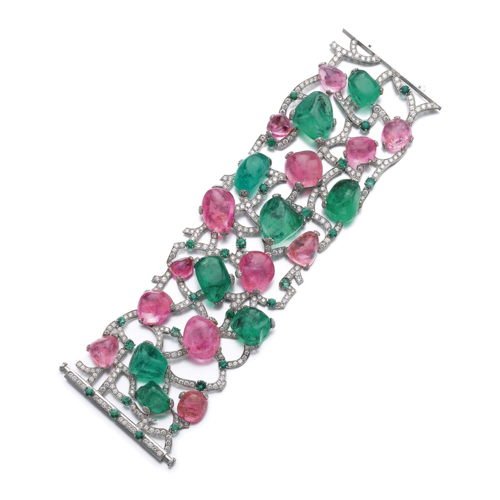 Emerald pink sapphire and diamond bracelet usassiu michele della