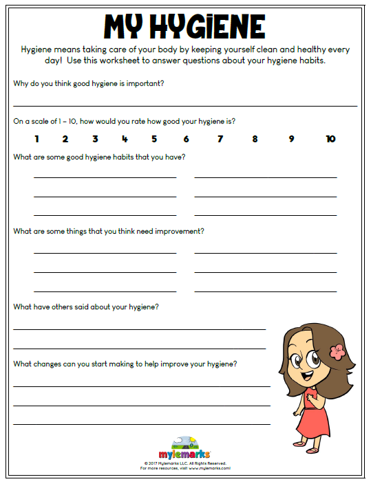 Hygiene means taking care of your body by keeping yourself clean and healthy every day! Use this worksheet to answer questions about your hygiene habits.  Find this and more hygiene worksheets at www.mylemarks.com! #hygiene #health #cbt #mylemarks