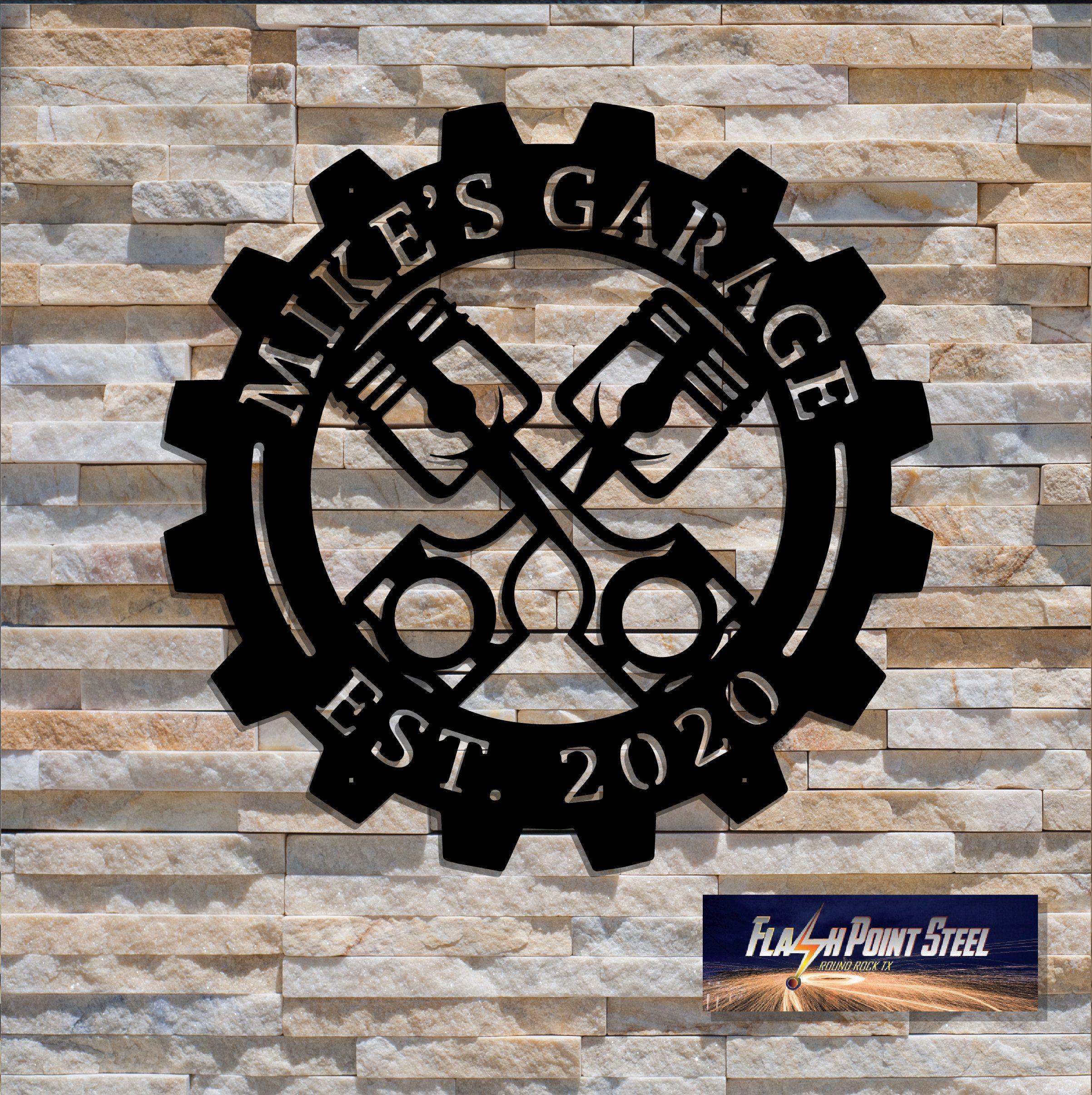 Piston Garage custom sign, Entrance sign, Man cave sign, Personalized, Established, Plasma cut steel sign, hot rod garage, Mechanic shop