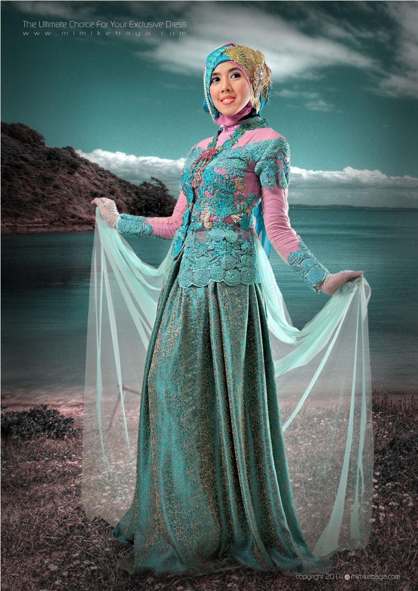 Kebaya Muslimah Biru Toska Kombinasi Pink Brokat Lace Kebaya