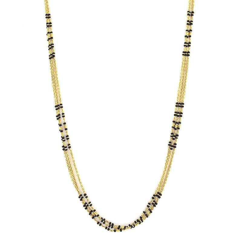 Grt Collections Gold Chains Bridal Black Beads Chain