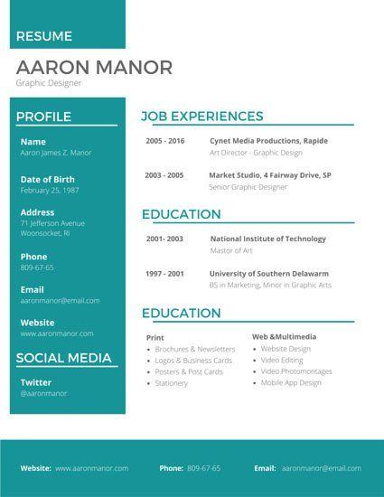 Graphic Designer Resume profile Pinterest Graphic designer CV - graphic artist resume sample
