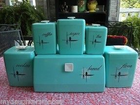 Vintage Atomic Aqua Blue 11 Pc Lustro Ware Canisters Plus Matching