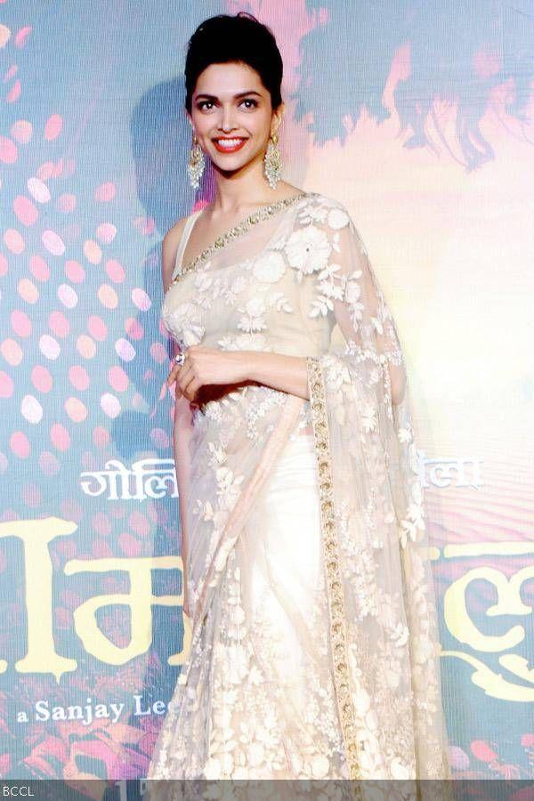 Deepika Padukone in sabyasachi saree at Ram leela movie ...