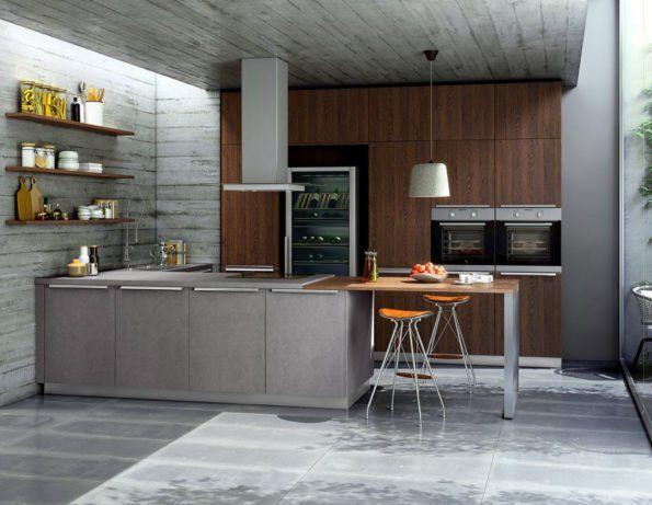 Global 51 180 52 170 Inselkuche In Beton Und Eicheoptik Inselkuche Kuchen Design Moderne Raumausstattung