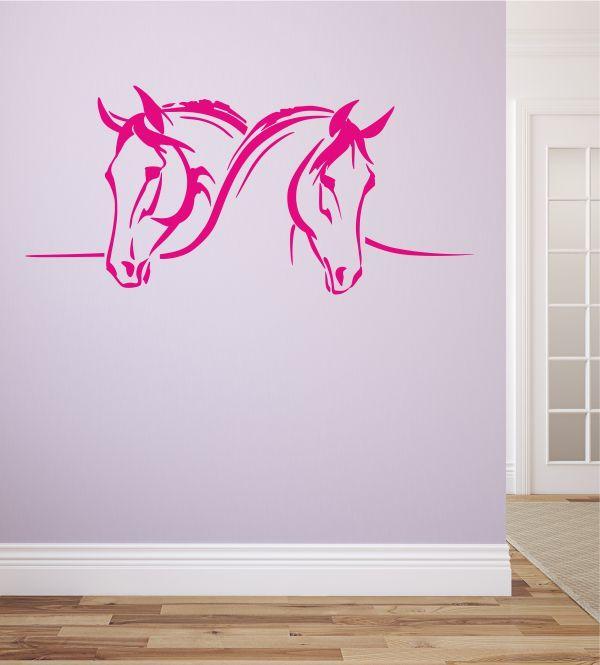 Inspirational Wandsticker Wandtattoo Wandaufkleber zwei Pferde kuscheln Kinderzimmer Pferdeliebhaber