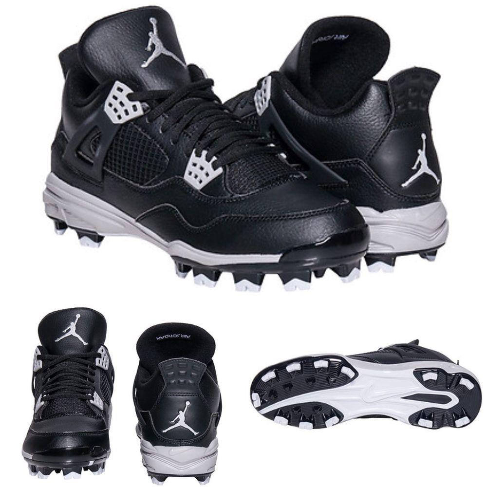 Can You Wear Baseball Cleats For Football New Men Nike Air Jordan 4 Mcs 807709 010 Black Flag Football Baseball Cleat 9 Ebay Flag Football Nike Men Baseball Cleats