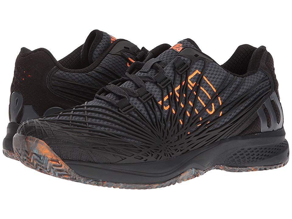 Wilson Kaos 20 EbonyBlackShocking Orange Mens Tennis Shoes Make all the right moves to win the match with the Kaos 20 tennis shoes from Wilson Designed for aggressive pla...