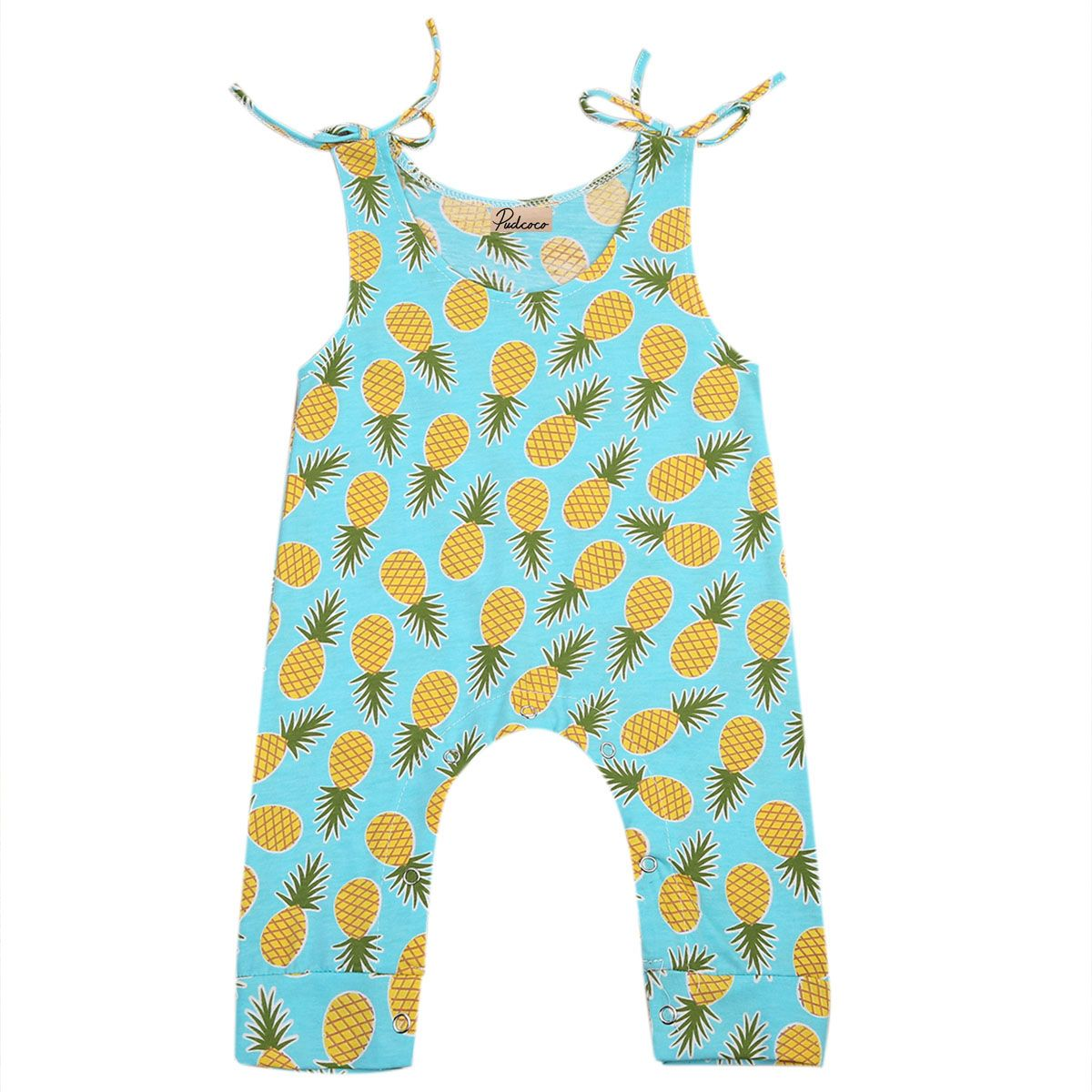 Newborn Baby Kids Boys Girls Romper Outfit Sleeveless Pineapple Print Jumpsuit Summer Clothes