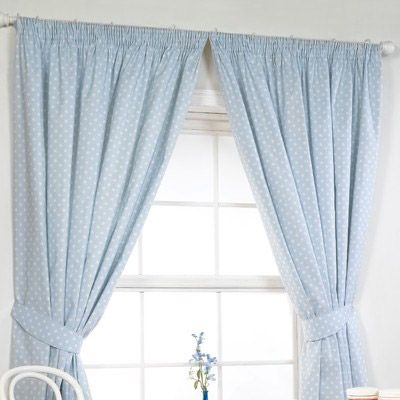 Awesome Polka Lined Curtains In Blue With Matching Accessories