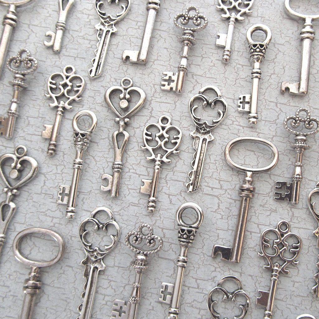 Skeleton Key Charm Set - 36pcs - 6 Shapes - Antique Silver Wedding ...