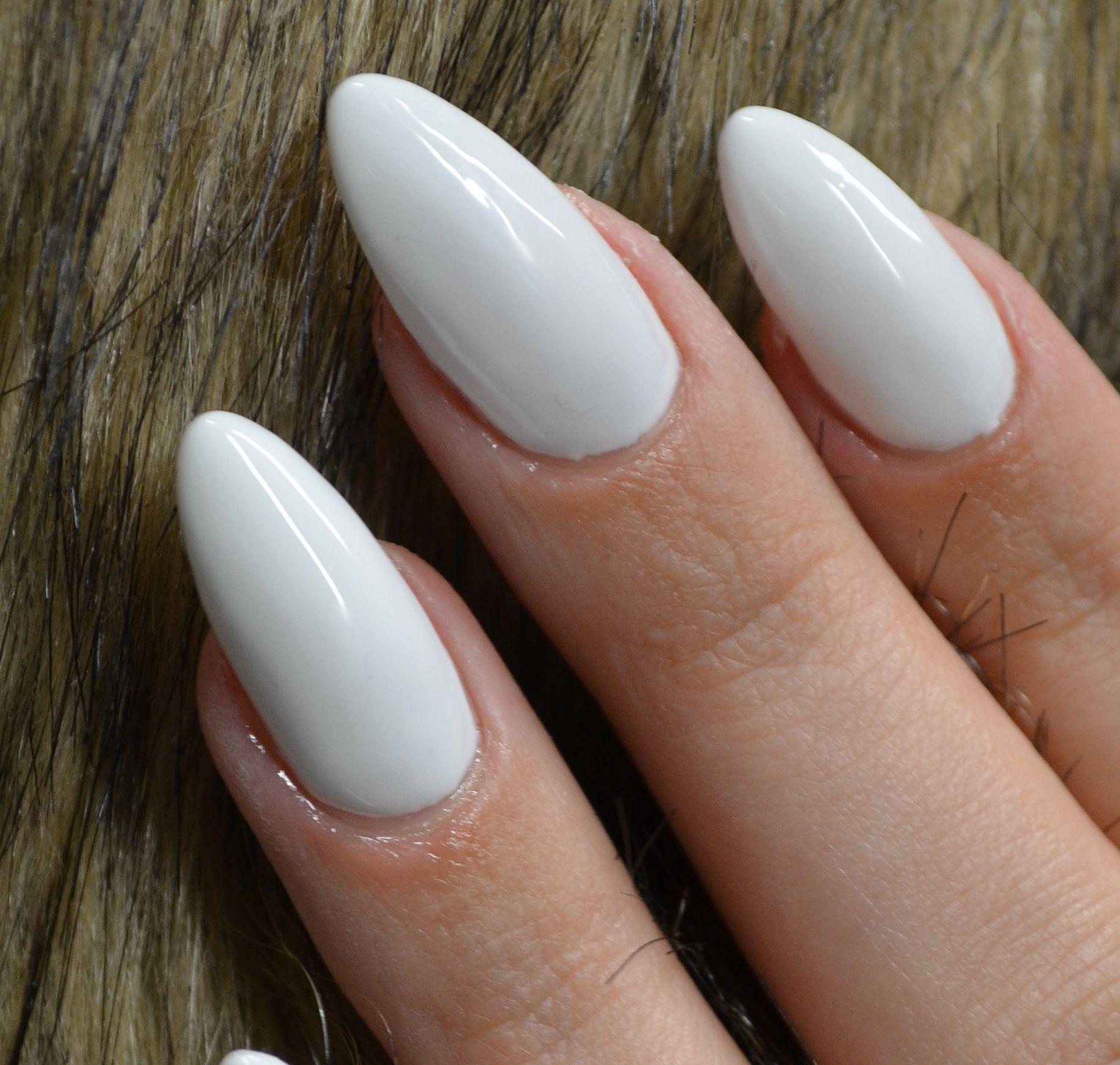 Full color nail art - White Fullcolor Almond Shaped Nails No Nailart Just Color