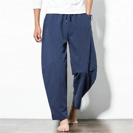 Japan Style Harem Trousers Men's Pants Baggy Wide Pants Cotton Loose Fitness Joggers Workouts Elasti...