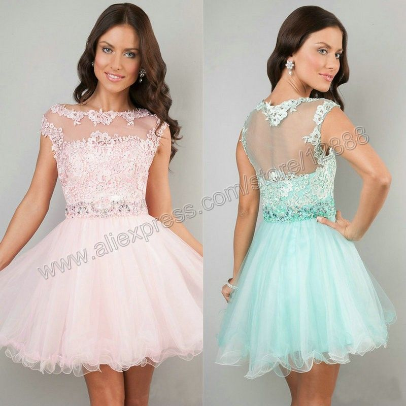 2014 Short Prom Dresses Pink High Neck See Through Cheap Junior
