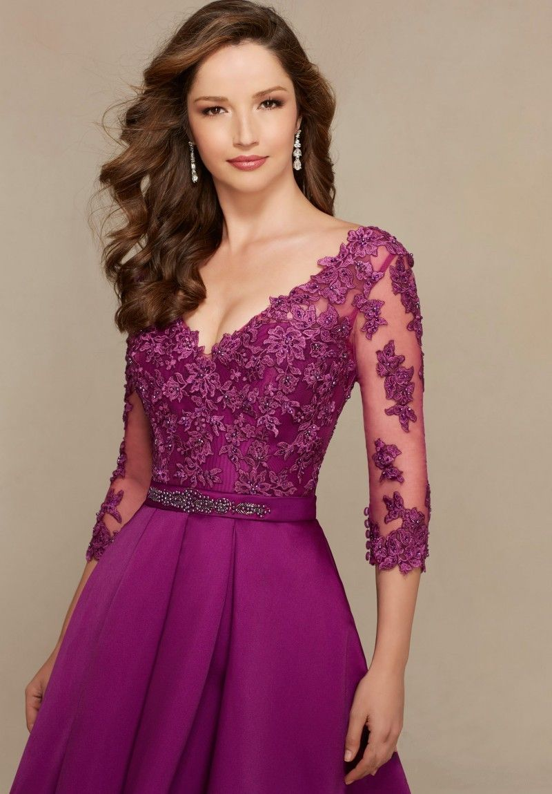 Innovative Design Ball Gown V Neck Plum / Beige Evening Dress 3/4 ...