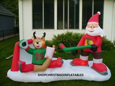 Christmas Airblown Inflatable Santa Playing Hockey Stanley Cup Blackhawks  New  7d47b16ca1d6