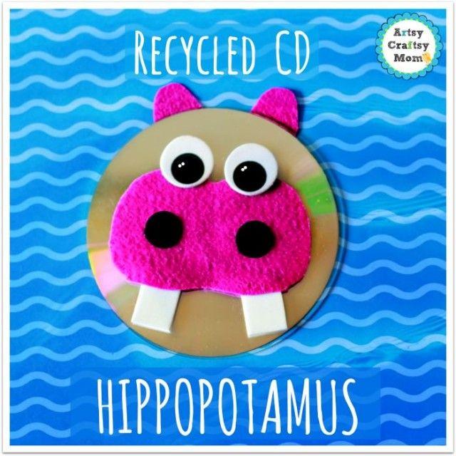 Cd Craft Ideas For Kids Part - 29: Recycled CD Hippopotamus Craft
