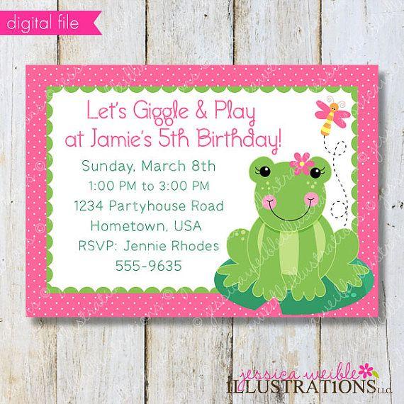 $5 Spring Frog Theme - Printable Party Invitation - Birthday Invitation - Print Your Own Party Invitation- Frog Party Printable Invite