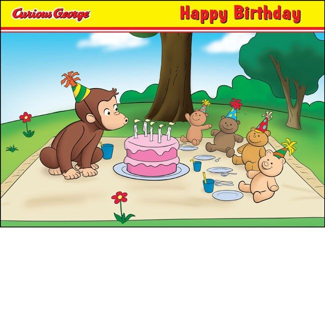 Curious George printable place mat coloring page – Curious George Birthday Cards