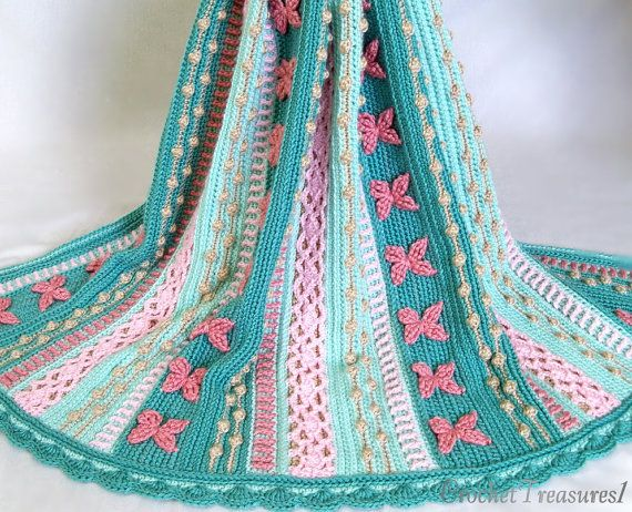 Sereia Sonhos Jogar / new / handmade / afghan cobertor / turquesa / rosa / coral / mar shell / bebê / primavera / unique
