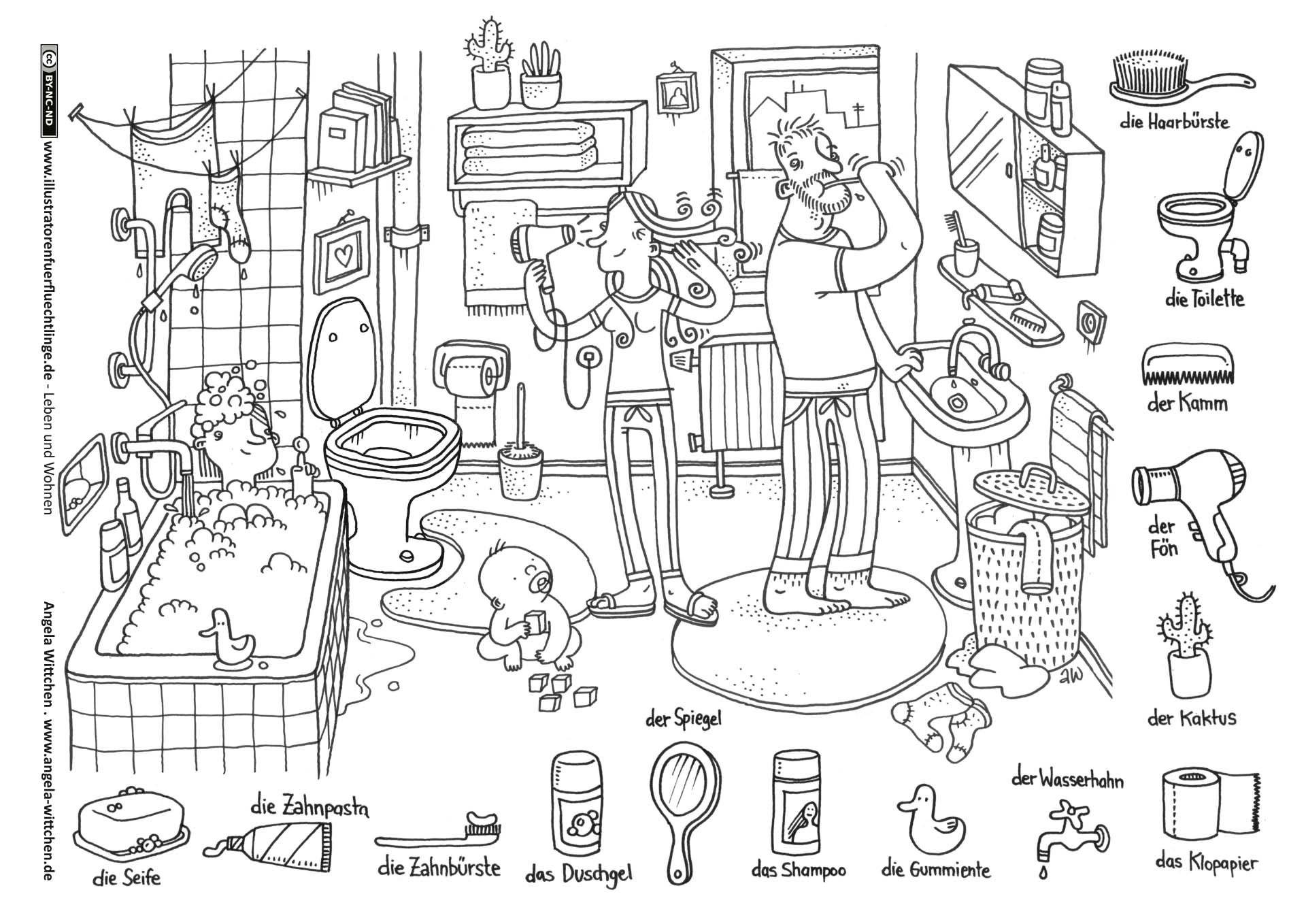 Badezimmer Baden Fohnen Zahneputzen In 2020 Arbeitsblatter Grundschule Vorschulblatter Zahne Putzen