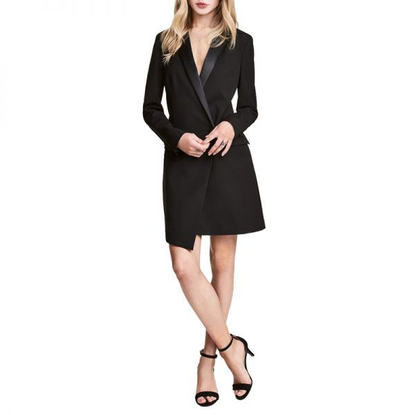 - A classic tuxedo dress never goes out of style. Experiment with the piece over tights or pants, and rock it with a slicked-back bun and red lip for added elegance.H&M Coat Dress, $70