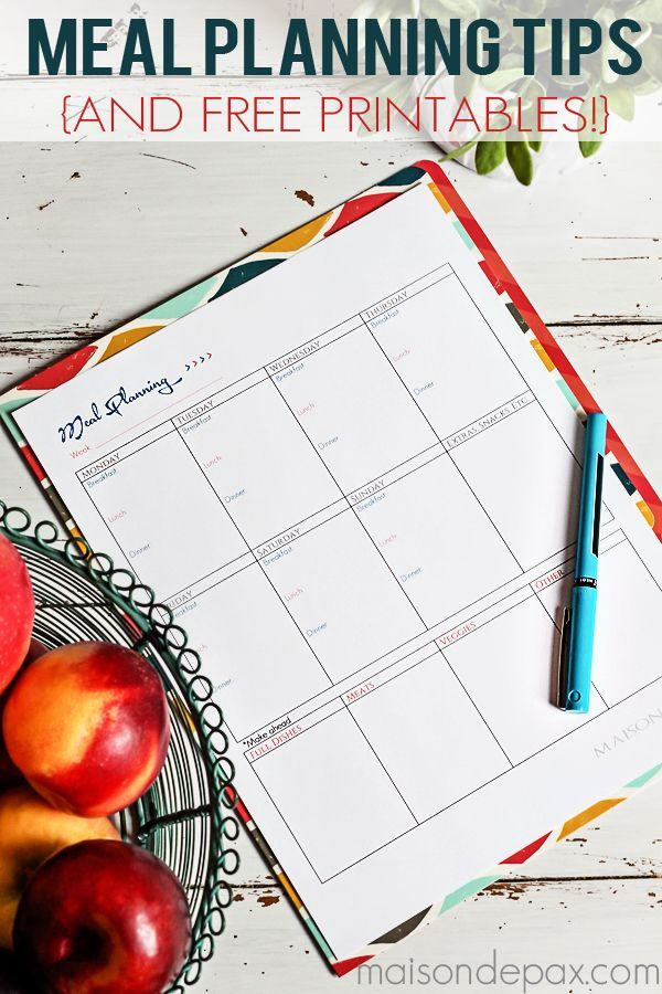 Meal Planning Tips {And Free Printable Free printables, Meals and Food