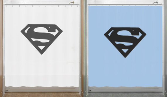 Superman Shower Curtain Chest S Logo Bathroom Decor Bath Kids New