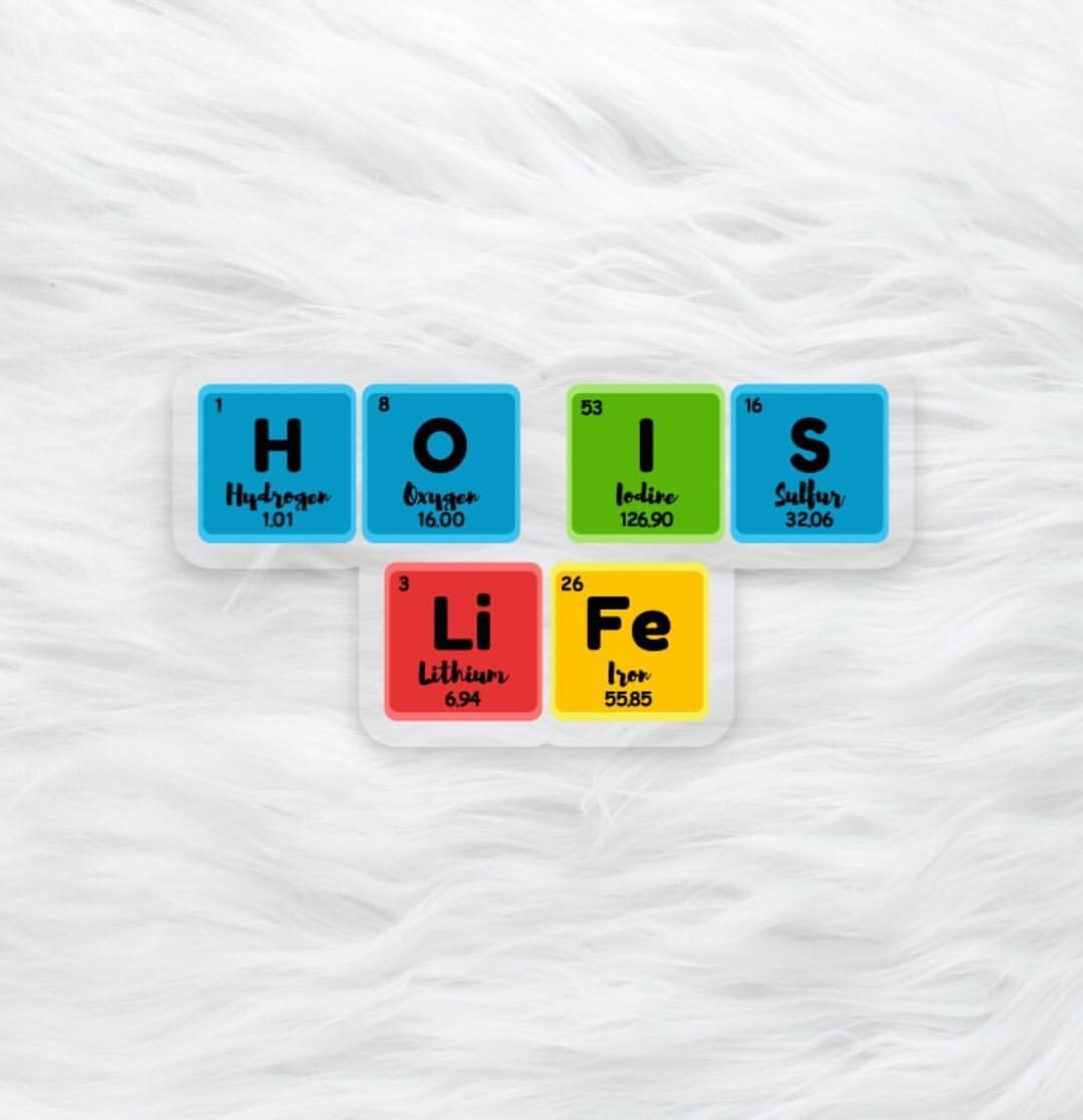 Hydrogen Oxygen Iodine Sulfur Lithium Iron Tag Your Favorite