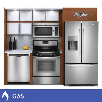 Whirlpool® 4 Piece GAS Stainless Steel French Door Kitchen Suite ...