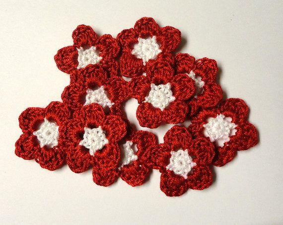 FLOWERS 10 cotton crochet red and white appliques